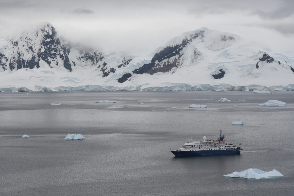Chimu's chartered, ice-hardened expedition ship the Sea Spirit cruising along the Antarctic Peninsula.  Photo:  Alicia-Rae Ofafsson