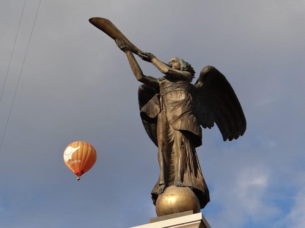 Statue of an Angel of Uzupis (Uzupio) in Vilnius, Lithuania.