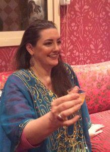 Thomasina having coffee with her Saudi family.