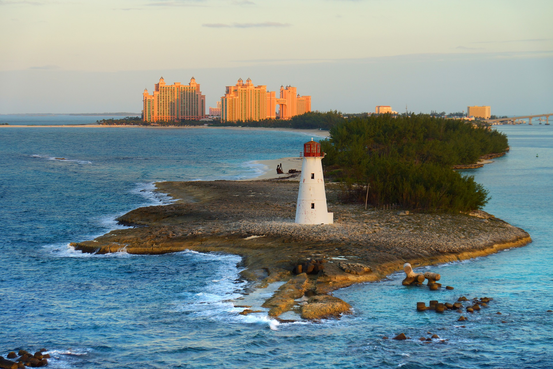 Lighthouse with Atlantis in the background taken in the Bahamas