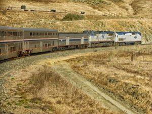 Amtrak train on the great plains