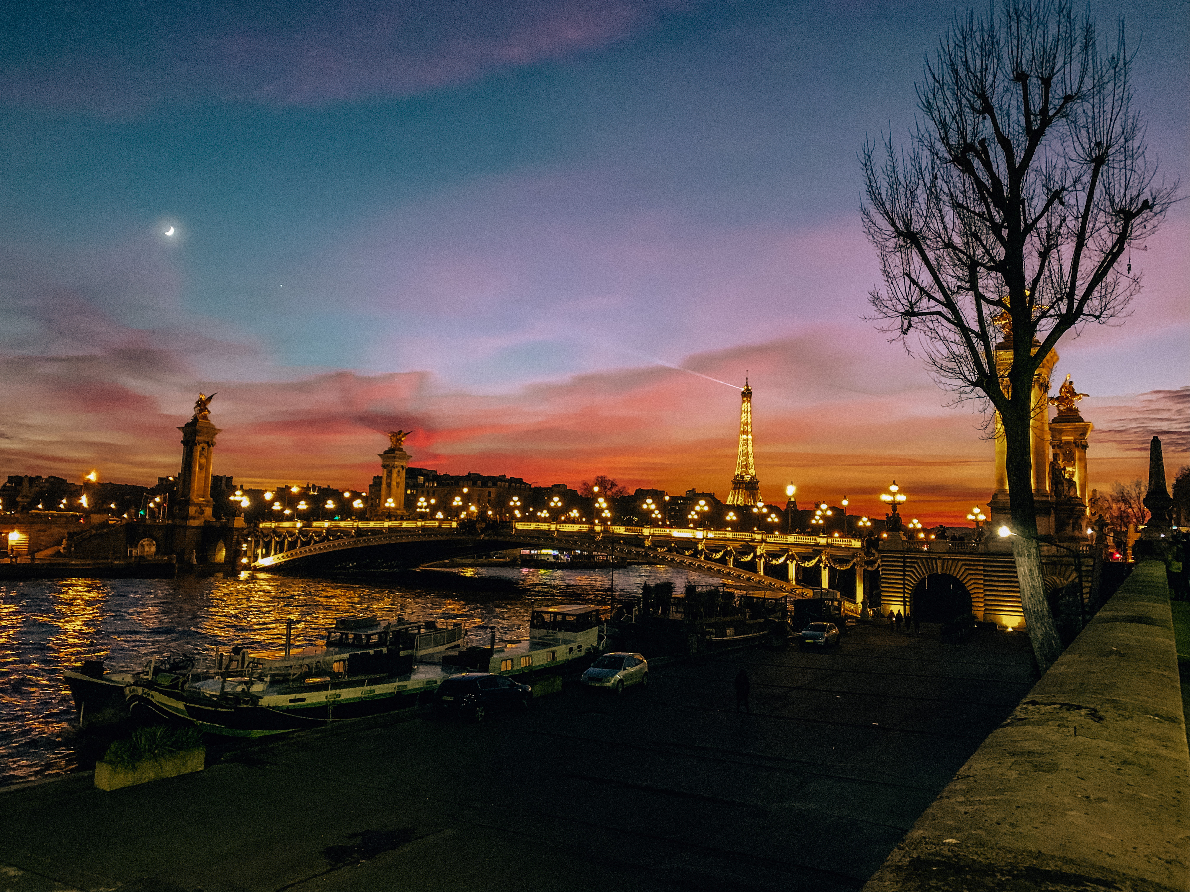 Sunset along the Seine. Photo: Kellie Paxian