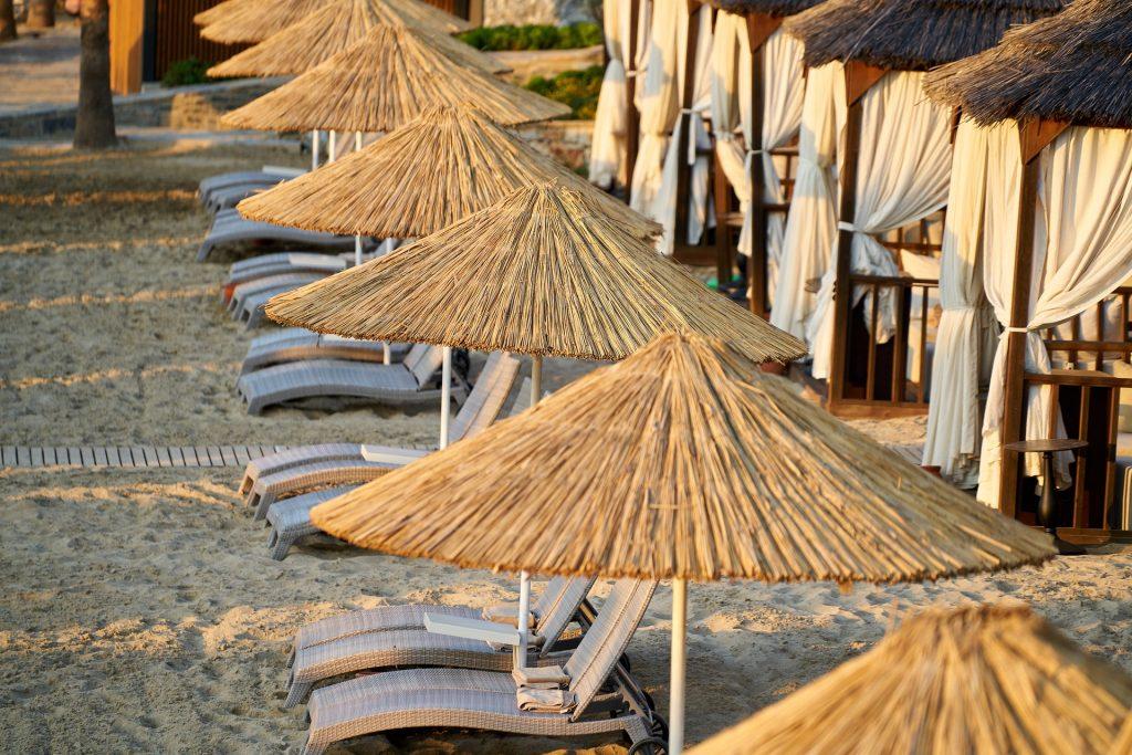 Empty beach and sunbeds