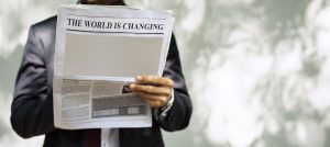 Newspaper headlines about world changing