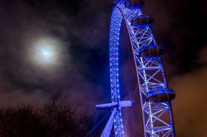 London Eye in blue lights