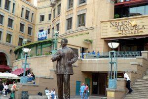 Statue of Nelson Mandela at Nelson Mandela Square in Johannesburg, South Africa.