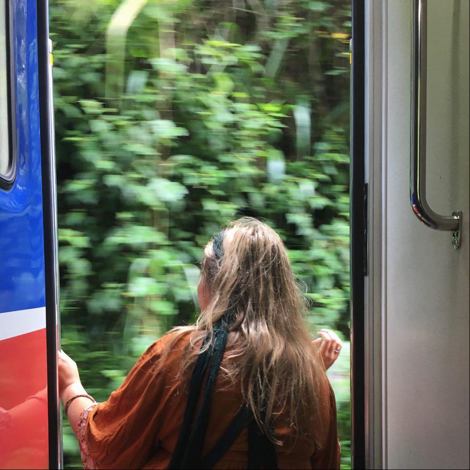 On a train in Sri Lanka. Photo: Lydia Klemensowicz