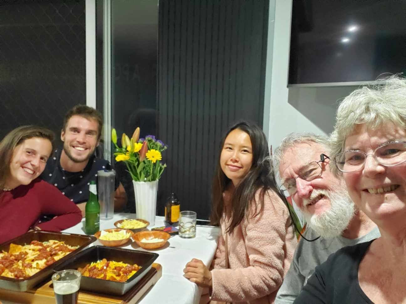 Barbara and David C. (on right) with Thomas P. and Lauranne D. (Belgium), and Sieun Y. (Korea)