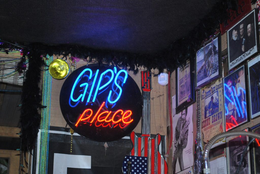 Just inside the entrance to Gip's Place