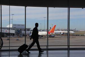 Airport passenger in terminal