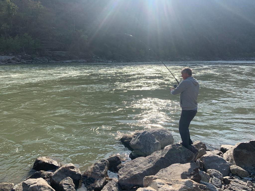 Ian Henderson fishing on the Mahakali. Photo: Anietra Hamper
