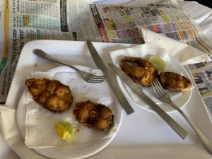 """""""Fish bites the cook made from a fish we caught for food during the lock down. This is the last meat protien I would have for 3 weeks."""" Photo: Anietra Hamper"""