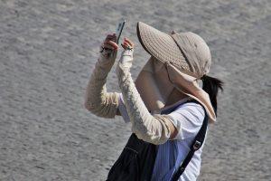 Traveler wearing a mask