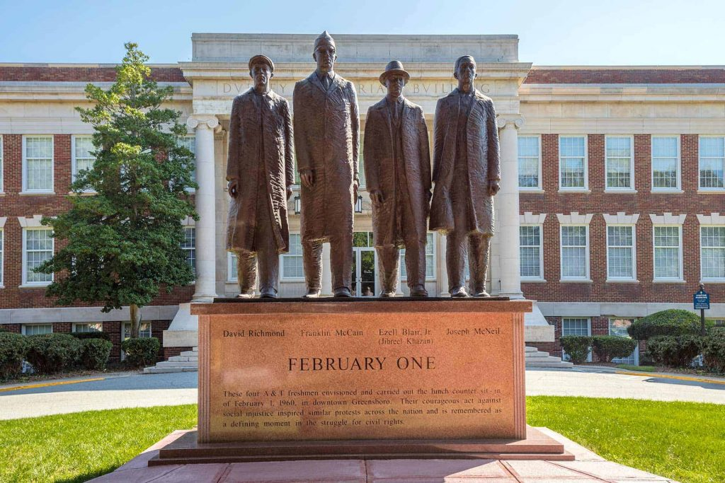 Black - Four in Greensboro NC. Photo courtesy of Civil Rights Trail