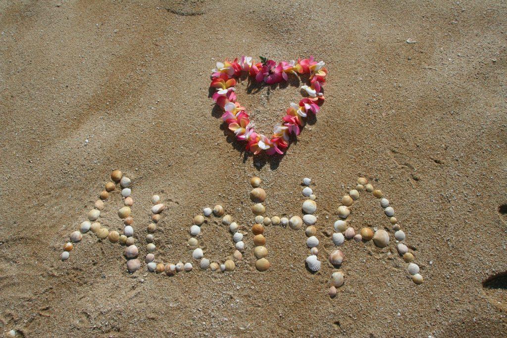 Aloha on Hawaiian beach