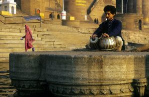 A solo recital on the banks of the holy river. Photo: Sugato Mukherjee
