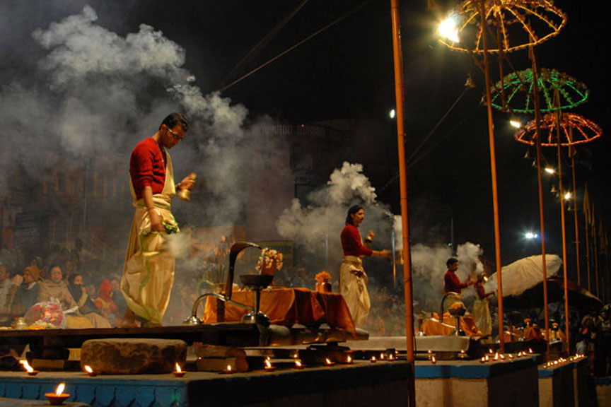 Ganga Aarti in Varanasi in the evening. Photo: Sugato Mukherjeeing. Photo: Sugato Mukherjee