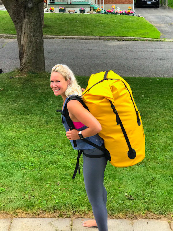Author with her canoe camping backpack