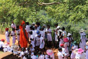 Children visiting Buddhist monks