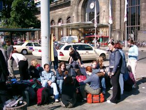 family traveling at railway-station-