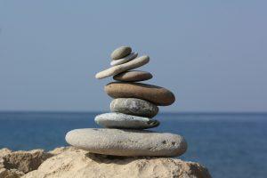 Zen stones by ocean