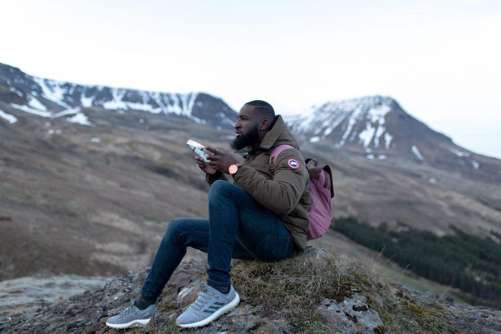 Black man hiking
