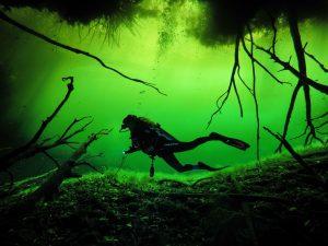 Author Kellie Paxian. Cenote diving in Tulum. Photo: @Tulum.breathtaking