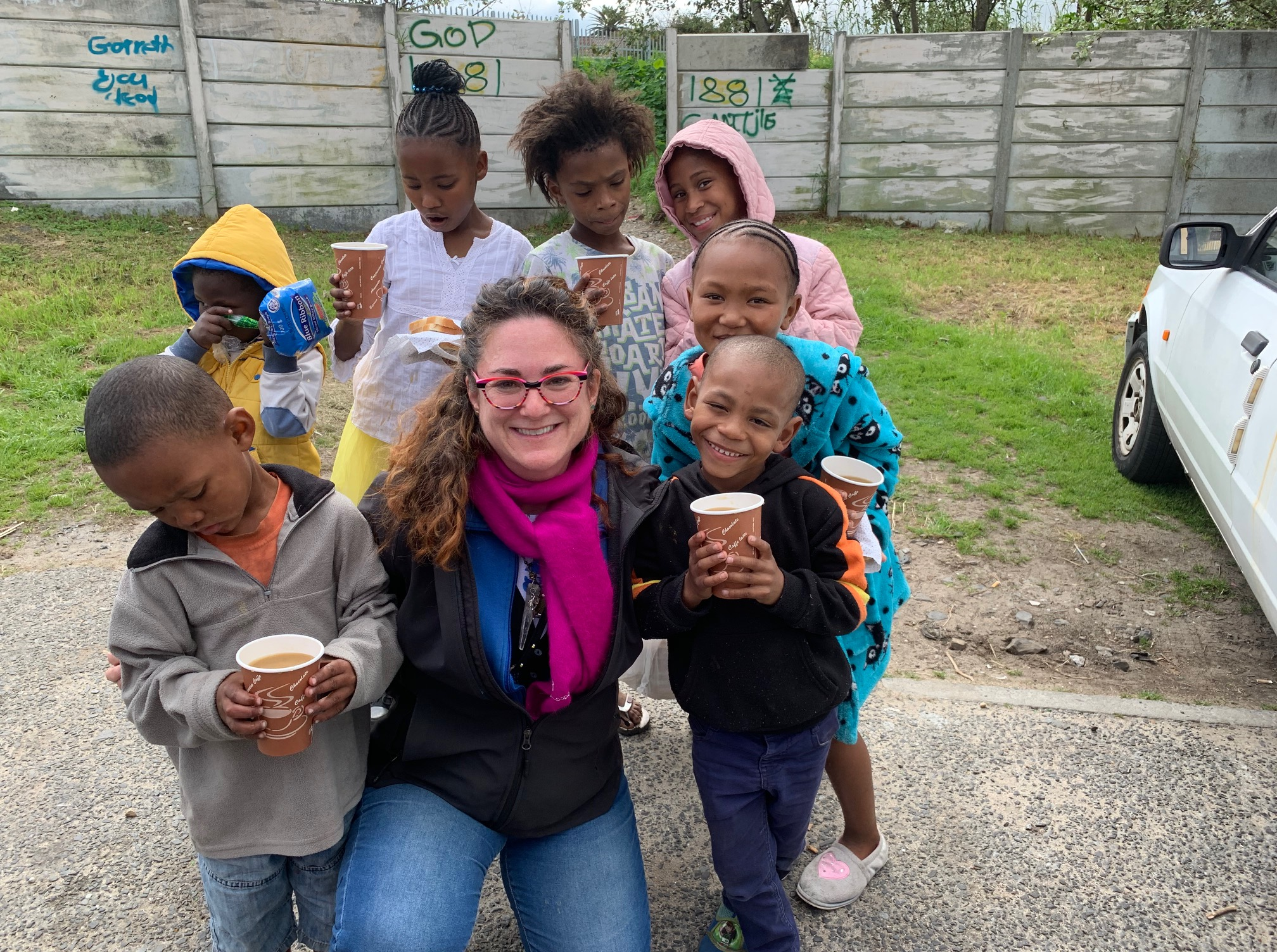 volunteering at a soup kitchen for a squatter camp in Cape Town.