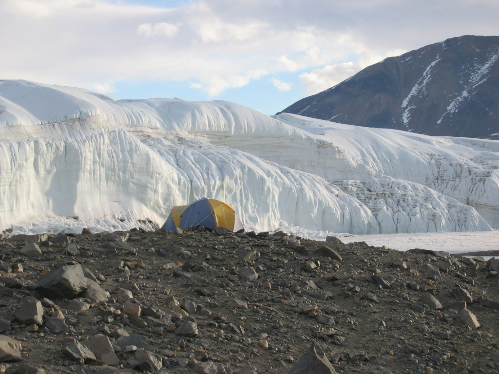 Photo of the tent Candy stayed that long weekend in at Lake Hoare in the Taylor Valley of Antarctica. It's at a field camp for the National Science Foundation (NSF). Courtesy of Candy FitzPatrick