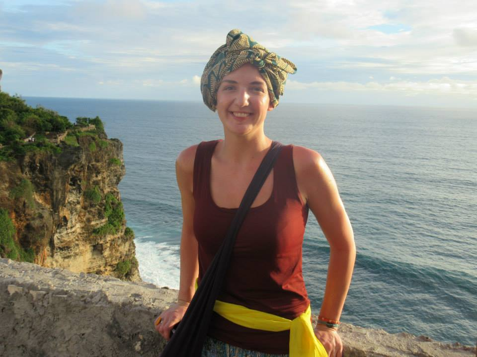 Emma in Bali with one with her first headscarf attempt. Photo courtesy of Emma Sothern