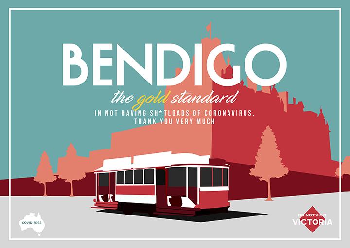 Bendigo postcard created by Guillermo Carvajal and Jess Wheeler