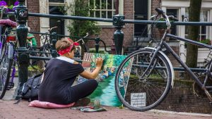 Street artist in Amsterdam