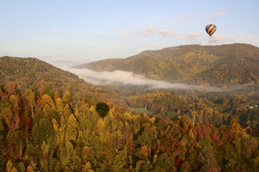 Hot air ballooning over Appalachian mountains