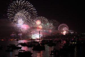 Sydney Harbor bridge with New Years Eve fireworks