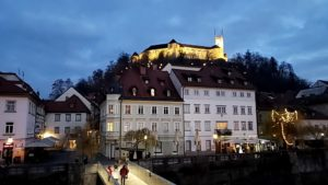 Ljubljana Castle is lit up in the background. Photo: Tonya Fitzpatrick