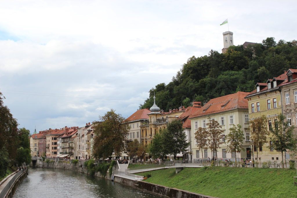 Ljubljana river walk with castle in background. Photo: Trixie Pacis