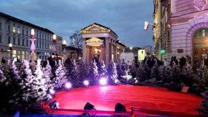 This set of mini trees was part of a film set in Ljubljana's city center. Photo: Tonya Fitzpatrick