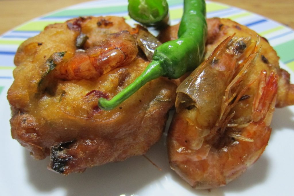 Wadeh prawns. Wadeh is a category of savoury fried snacks from India.