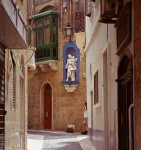 Street corner in Malta with Virgin Mary image. Photo: Ann-Marie Cahill