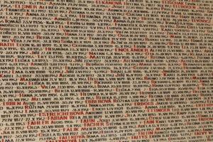 """Prague Praha 2014 Holmstad flott Navn på Holocaust-ofre på veggen til Pinkas-synagogen names for Holocaust victims at the wall of the Pinkas Synagogue 2.jpg"""" by Øyvind Holmstad is licensed under CC BY-SA 3.0"""