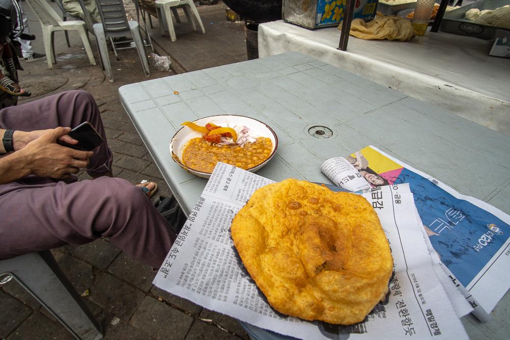 Pakistan - A typical Lahori breakfast of chole bathure. Photo: Samantha Shea