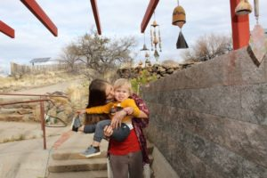 Arcosanti Author and son with Arcosanti wind bells