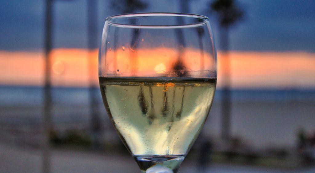 Wine glass at sunset - California Wines