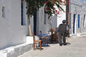 Local Greek man walking in Greece