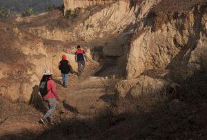 Walking through caves and ravines. Photo: Sugato Mukherjee