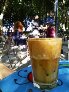 Enjoying coffee. Photo: Jim Bamboulis
