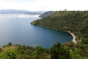 Meat Village offers beautiful views of Lake Toba and its white-sand beaches.