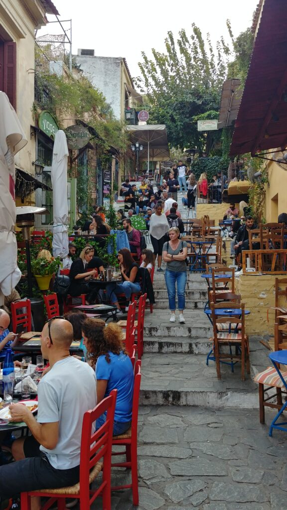 Kefi-Row of cafes on an Athens incline