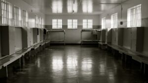 nside Robben Island prison where Nelson Mandala was held.