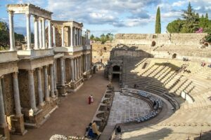 """The Merida Roman Theatre or """"Teatro Romano"""" is one of the most impressive of the ruins of this former colony of the Roman Empire."""